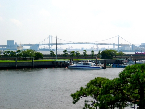 Rainbow Bridge view from the Tidal dock in the Hama Rikyu garden